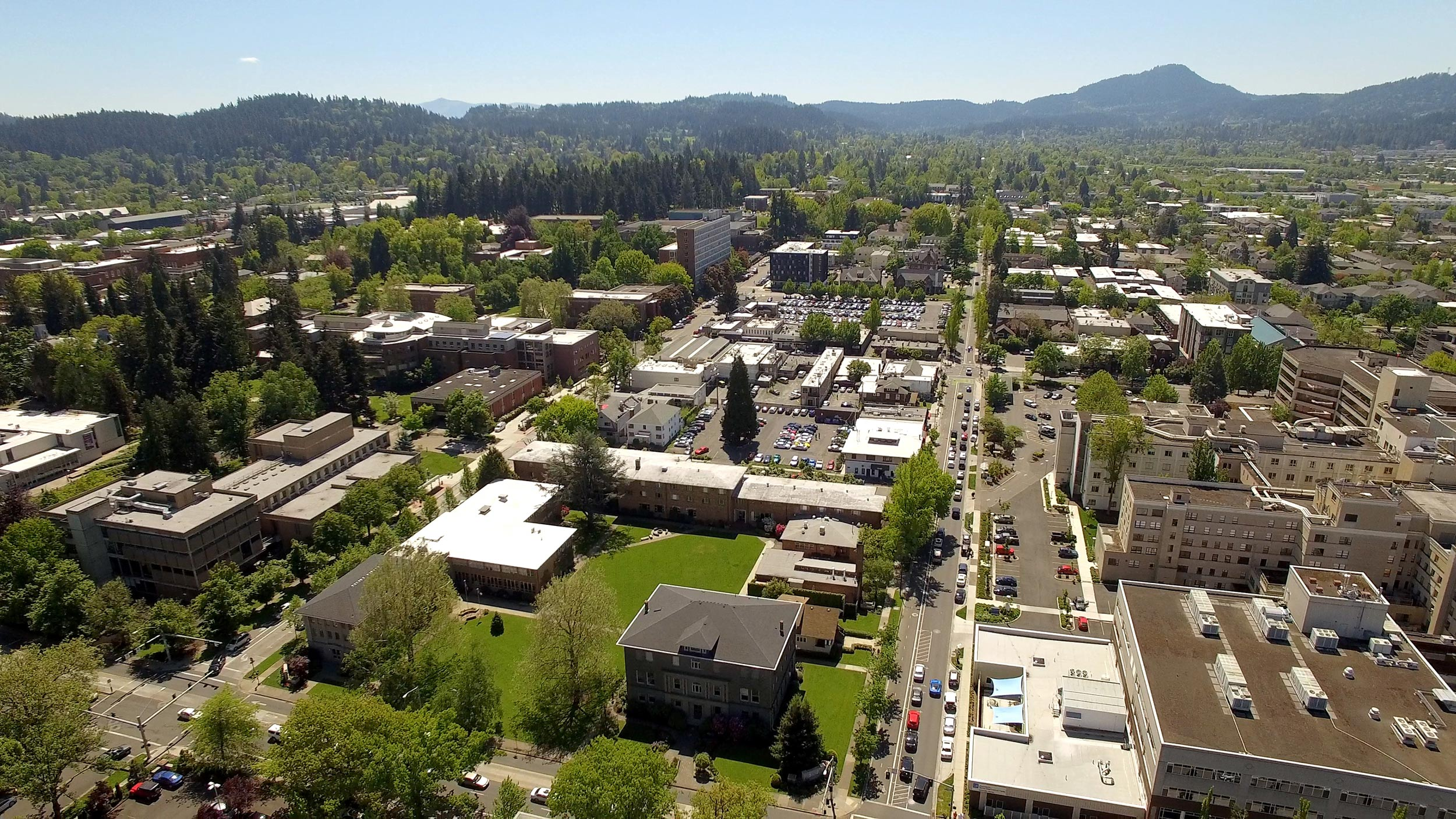 Aerial photo of Bushnell Campus near the University of Oregon
