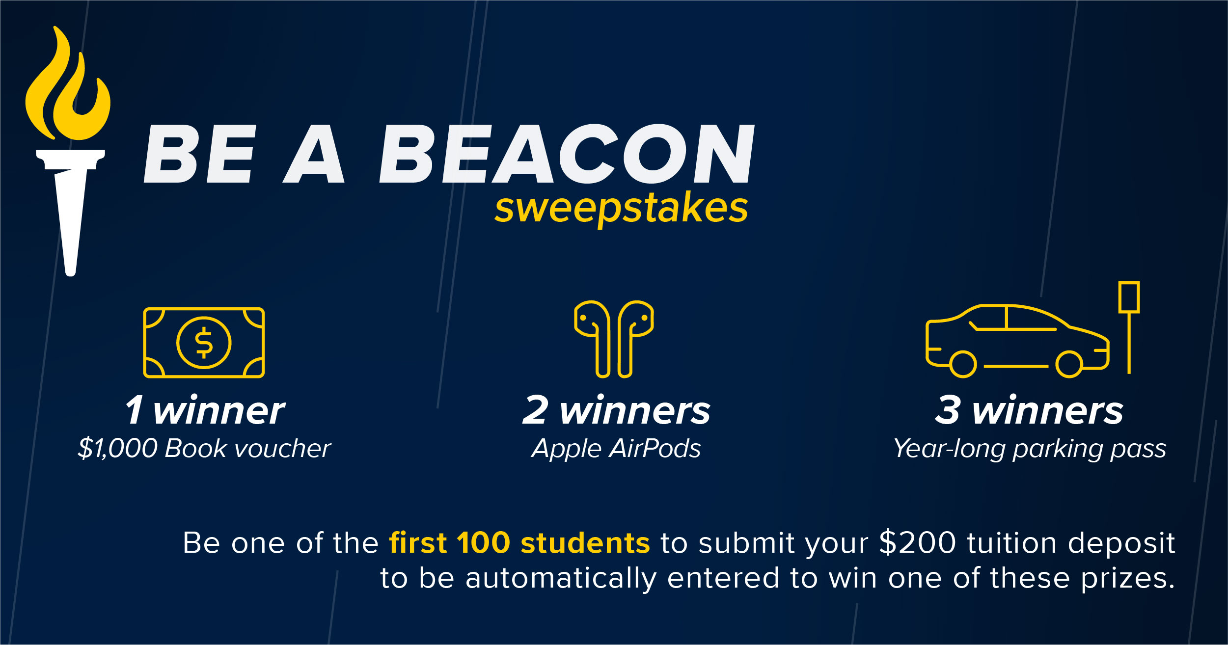 Bushnell Bound Sweepstakes. Be one of the first 100 students to submit your enrollment deposit to be entered to win.