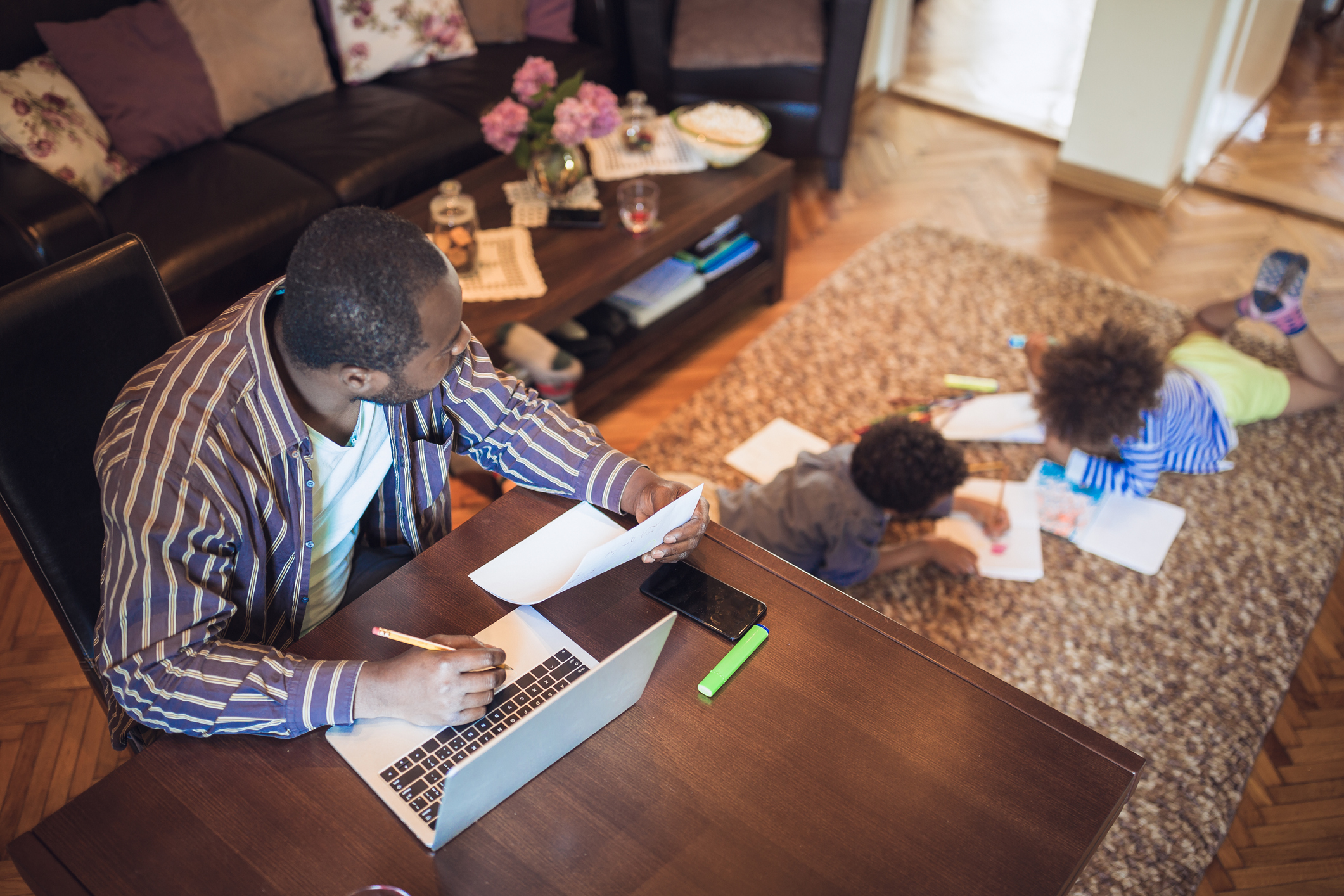 Online Admissions - Father working from home