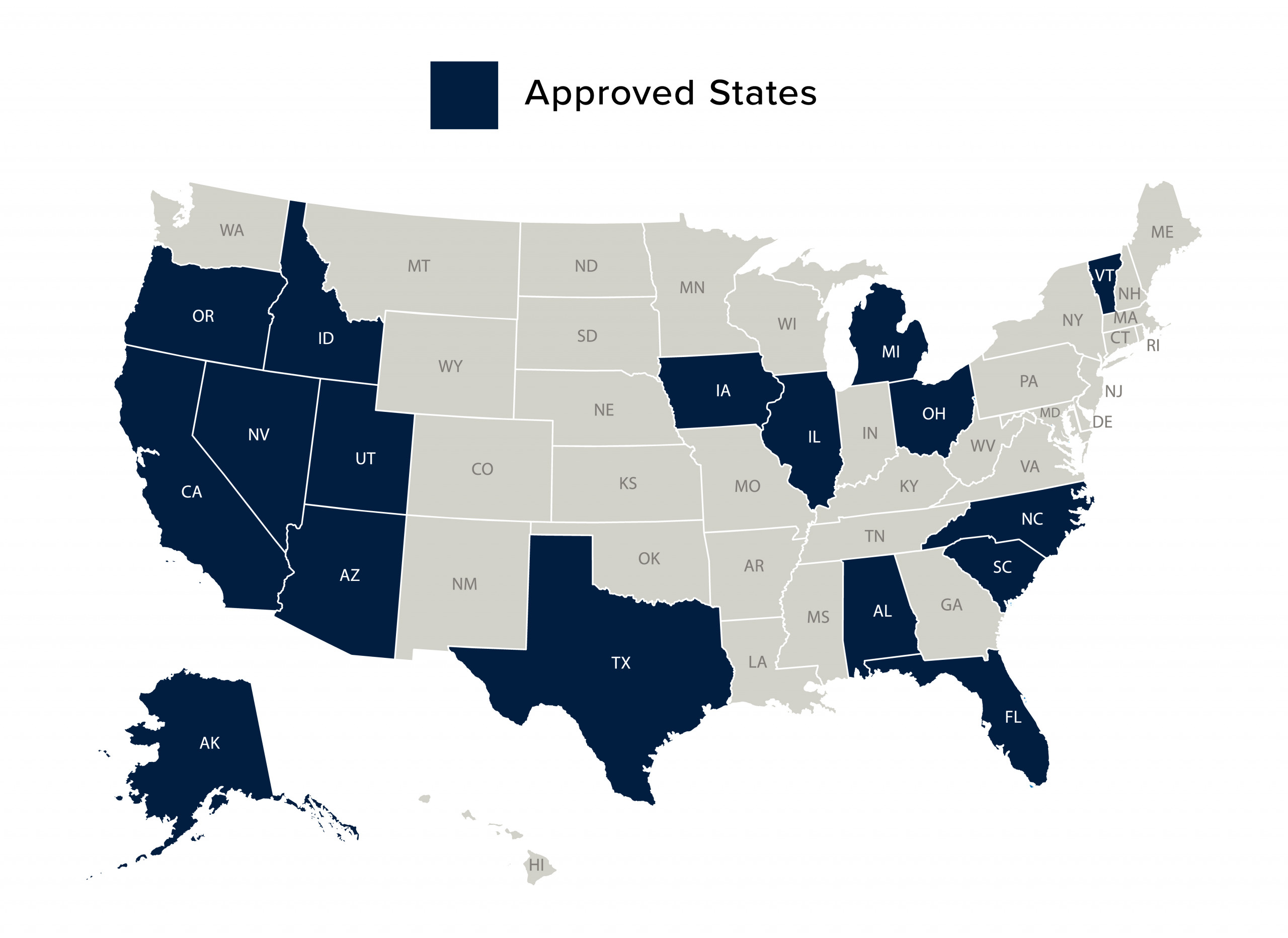 Map of Approved States for Practice Experiences