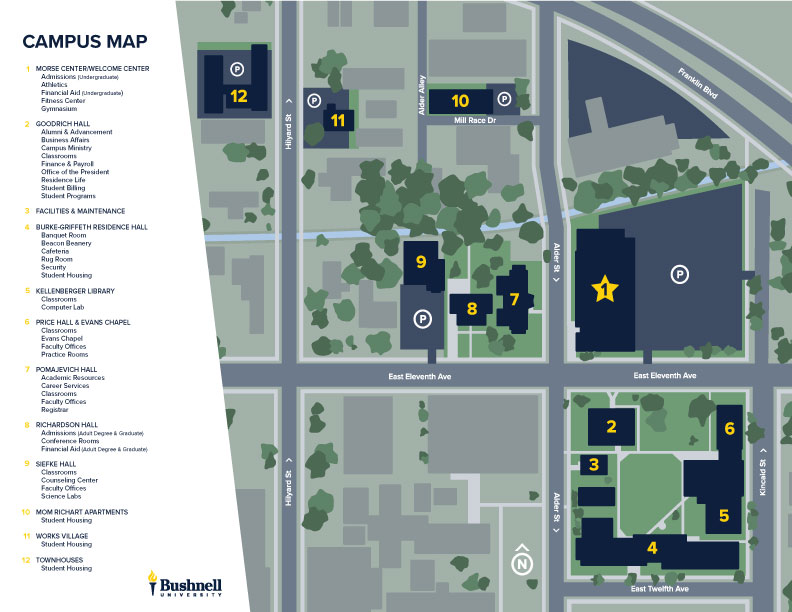 Printable Bushnell University Campus Map